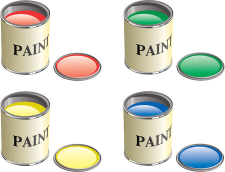Paint can with lid removed show paint in can. Stock Vector - 4013969