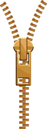 Layer-separated illustration of an isolated brass clothes zipper. microstock Illustration