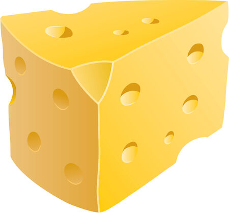 Isolated illustration of a wedge of cheese