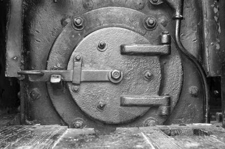 Fuel door in a steam powered locomotive