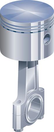 Pistón cromado, con biela, utilizado en motores de combustión o compresor.