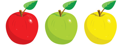 Three apples, red, green and yellow with a leaf.