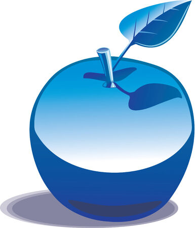 Chromed apple under a deep blue sky. Stock Vector - 4451910