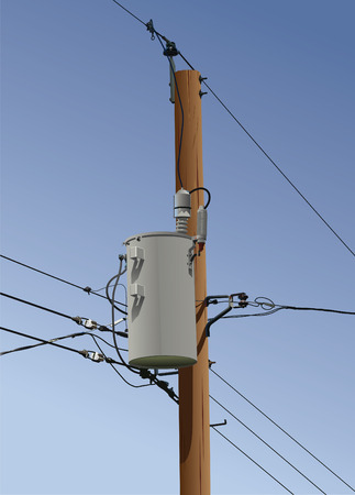 Electrical or utility pole with transformer, wires and insulators.