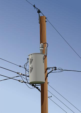 Elektrische of utility paal met transformator, draden en isolatoren.