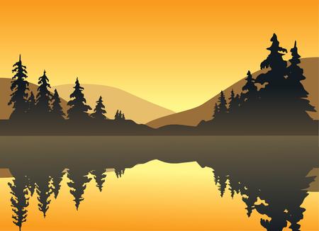 オレンジ色の輝き、太陽を鋳造、穏やかな湖の丘の背後に設定します。  イラスト・ベクター素材