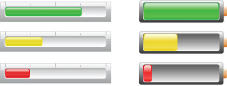 Power bar and battery icon used to depict the power level of electrical power equipment or batteries. Stock fotó - 4737509