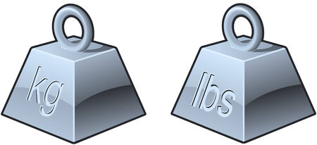 Heavy symbols or icons with pounds and kilograms Illustration