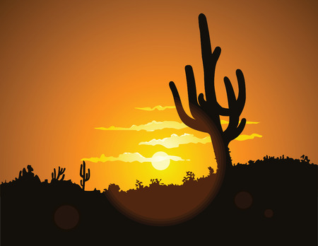 The hot glowing sun sets behind a hill silhouetting the tall desert cactus. Illustration