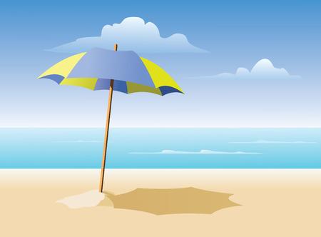 large yellow and blue beach umbrella on sanding beach. CMYK color. Illustration
