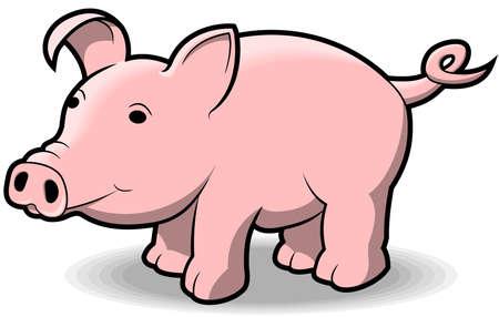 かわいい小さな漫画スタイルの豚。