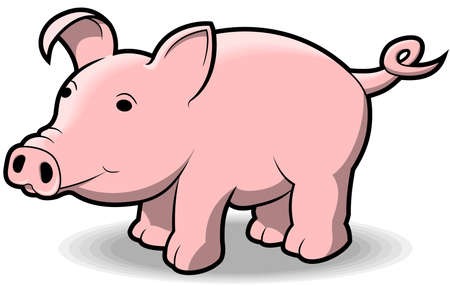 A cute little cartoon-style pig. Ilustracja