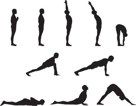 Basic Yoga Poses in Silhouette  イラスト・ベクター素材