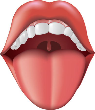 throat: Open Mouth with tongue sticking out. Illustration