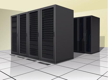 enclosures: Due righe di rack, o recinti, contenenti materiale informatico.  Vettoriali