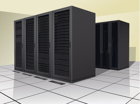 power cables: Two rows of rack, or enclosures, containing computer equipment.