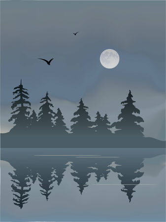 reflection: Foggy Lake with Moon and birds.