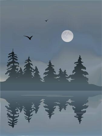 Lac de Foggy avec la Lune et les oiseaux. Banque d'images - 5595249