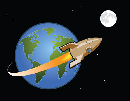 Rocket ship leaves Earth and travels to the Moon