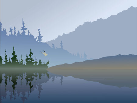 reflection: A foggy lake. Time of day: early in the morning or right after sunset. A bird flies low over the water. Illustration