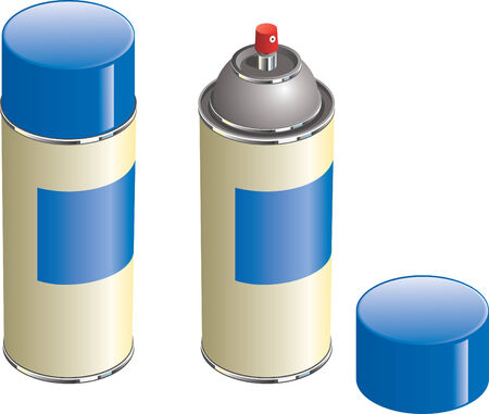 Aerosol paint can with lid removed to show nozzle.
