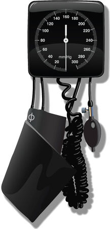 blood pressure monitor: Sphygmometer (blood pressure machine) used in a doctors office. Illustration