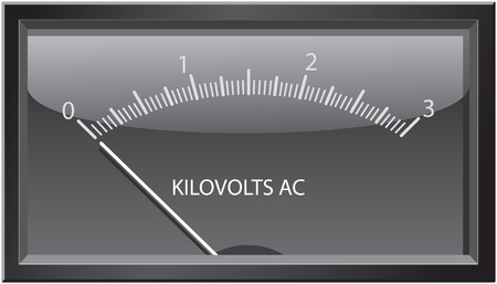 Dial or needle-type analog kilovolts gauge.