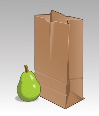 갈색 종이 봉투와 녹색 배입니다. 할당 된 색상 및 벡터 파일에서 별도 레이어.