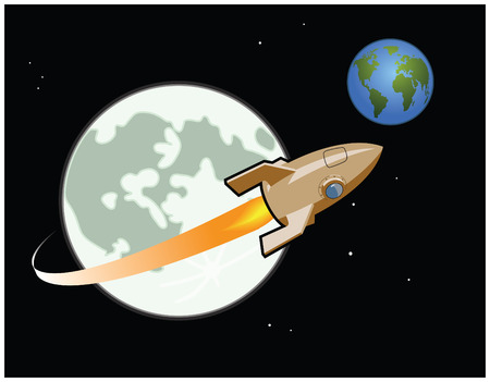 A rocket travels around the Moon heading for Earth Stock Illustratie