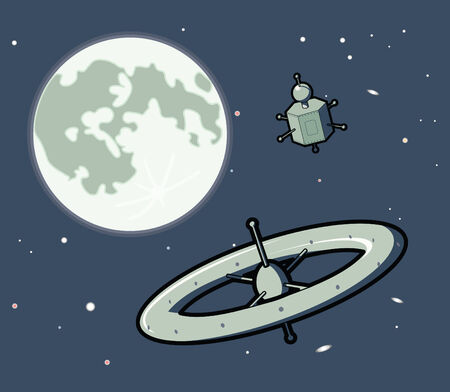 Two space machines, one a satellite and one a space station, travel around the Moon.