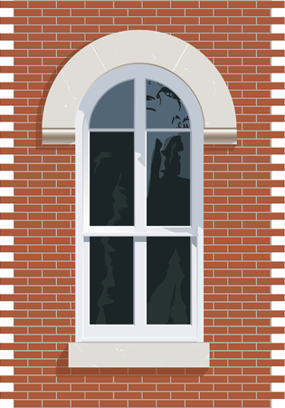 Arched top window with stone and brick