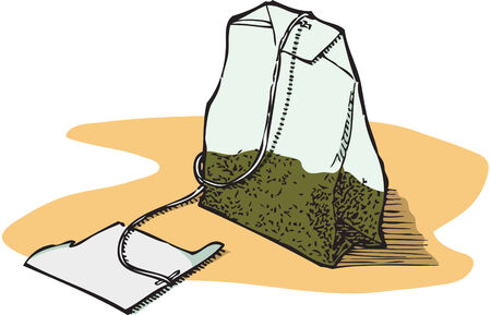 Isolated illustration of a green tea bag. Hand-drawn style. CMYK color.