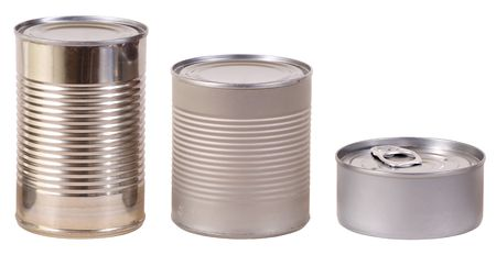 Three different isolated metal food cans. Contains working paths. Stock Photo - 6867964