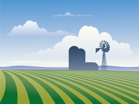 Farm landscape showing rows of crops and silhouette of farm buildings including windmill.,