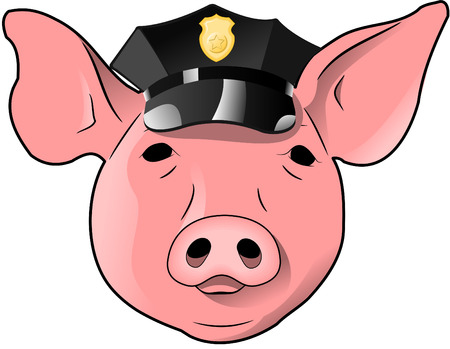 animal head: A portrait of a pig wearing a police hat.