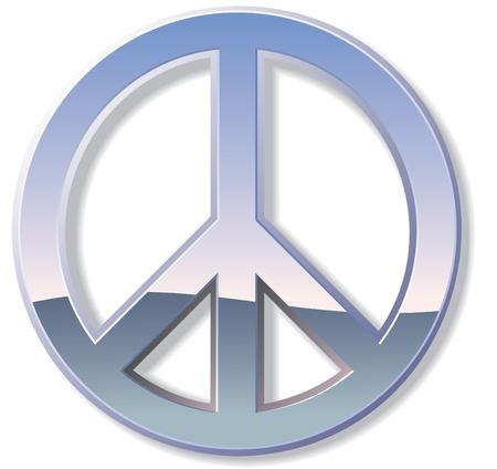 simbolo paz: Signo de paz de metal o cromo con reflejos