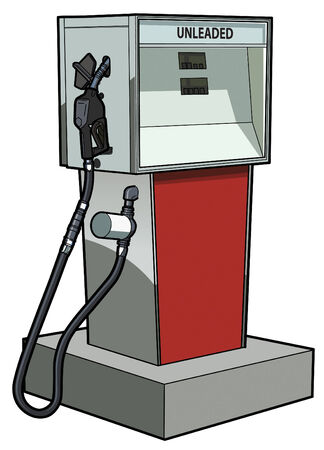Old time gas pump for unleaded gasoline or petrol. Çizim