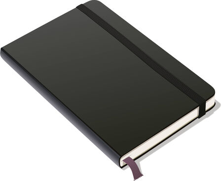 Leather-covered bound notebook with black cover, elastic band and ribbon placeholder.