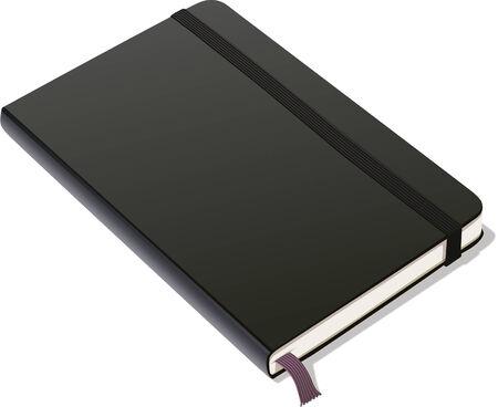Lederen gebonden notebook met zwarte, elastische band en lint tijdelijke aanduiding.  Stock Illustratie