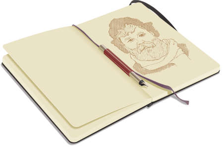 open notebook: An open sketchbook, on white background, showing a portrait drawn with fountain pen. Illustration