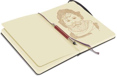 Een open schets boek, op een witte achtergrond, toont portret met vul pen getekend.  Stock Illustratie