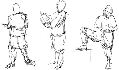Gestural drawings of the human figure in action
