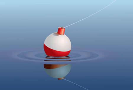 floating: A single fishing bobber floating in a lake or pond.