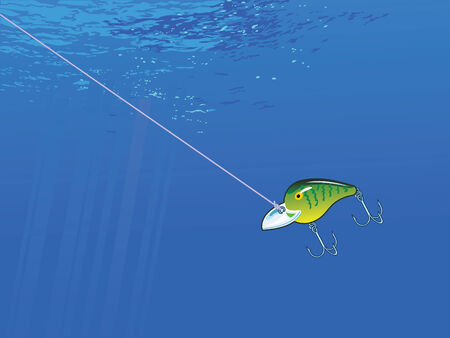 A view of a fishing lure under water. CMYK color.