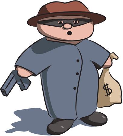 お金と銃のバッグとマスクされた犯罪者の文字を漫画します。