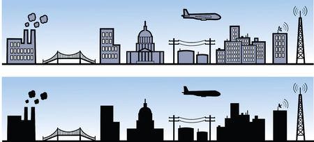レンダリングし、景色のシルエットのさまざまな都市要素。
