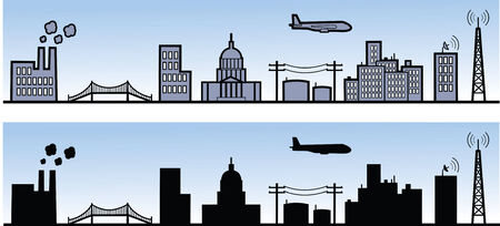 Various city element in rendered and silhouette views. Illusztráció