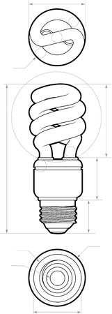 Technical drawing of a small compact fluorescent light bulb. All paths have been converted to shapes. Layer-separated. Ilustrace