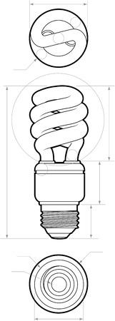 Technische tekening van een kleine compacte fluorescerende lamp. Alle paden zijn omgezet naar shapes. Laag-gescheiden. Stock Illustratie