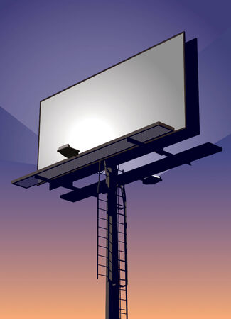 street lamp: Roadside billboard sign at sunset with blank front for your message. Illustration